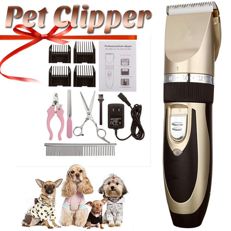 11pcs Professional Rechargeable Pet Dog Hair Trimmer Animal Grooming Clipper Cat Cutter Machine Shaver Electric Scissor 110 240V