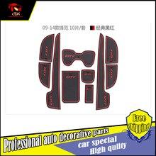 10Pcs/set Car-Styling Slot Pad Interior Door Groove Mat Latex Anti-Slip Cushion For Honda City 2009-2014 door mat Car Dedicated