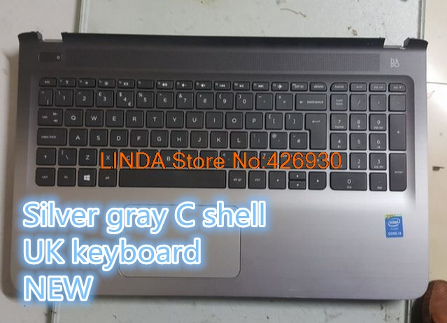 Linda Parts Wholesale store Laptop PalmRestkeyboard For HP Pavilion 15-AB000 ab291tx Silver gray C shell plus UK/US keyboard new
