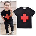 Hot Sale 2017 Boys T Shirt  Kids Clothes Cotton Cross Printing Boy Tops Tees 3 Colors Boys T-shirts  Kids Summer Clothes CG051