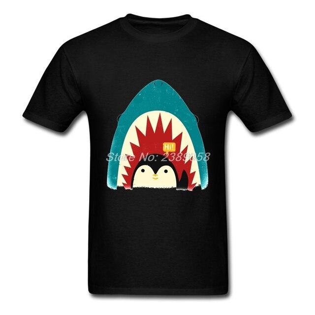 e52b167ab Camisetas homens pinguim shark manga curta roupas online original marca de  luxo homem camisetas plus size