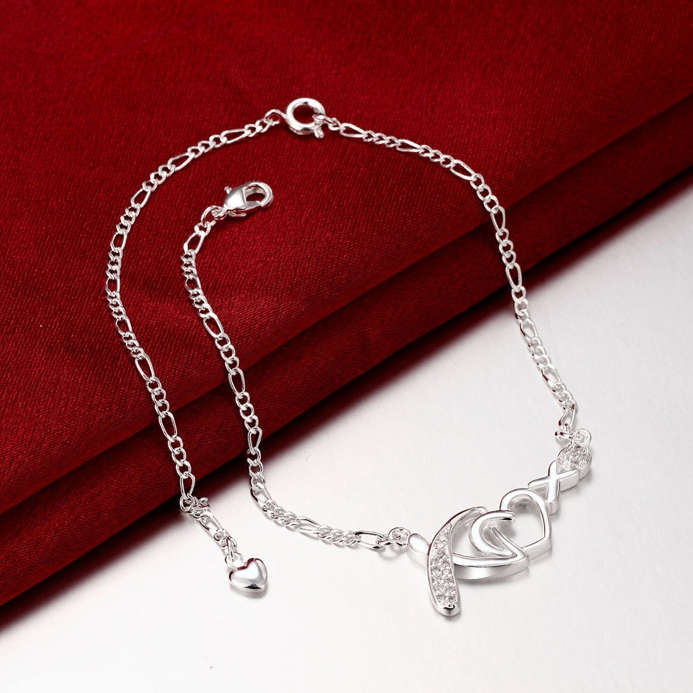 2016 new Girls 925 stamped Silver plated jewelry Heart sliver anklet font b bracelets b font