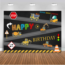 Neoback Construction Photography Backdrop Birthday Party Banner Background Dump Truck Digger Excavator Boy Kids Prop AN797
