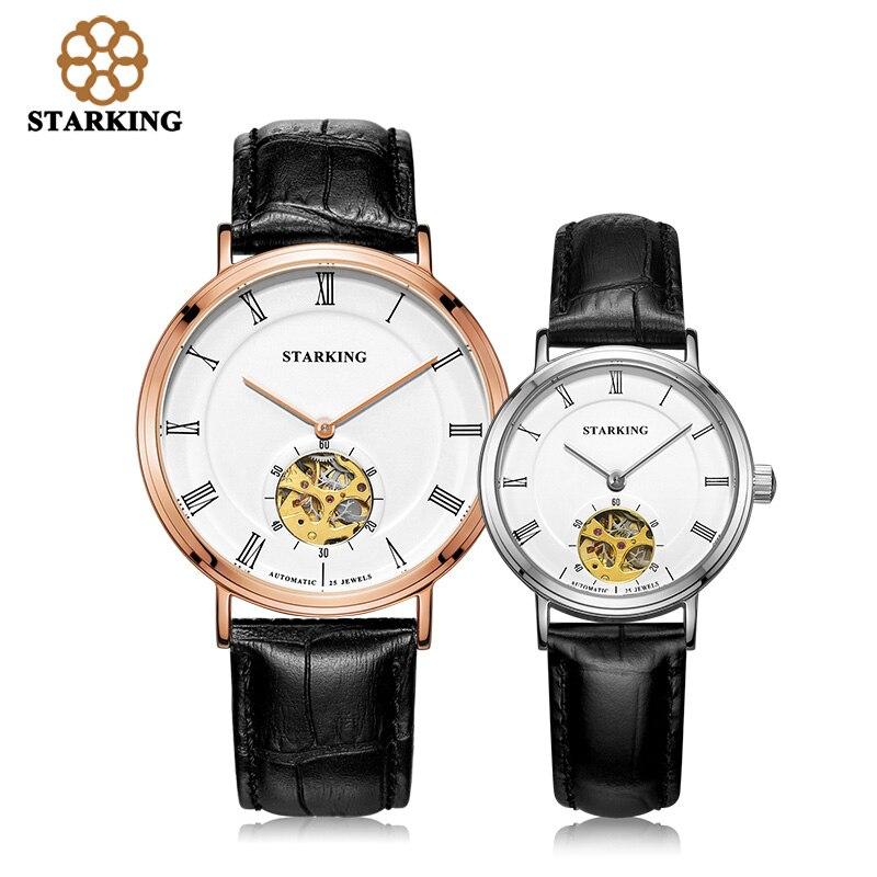 Старкинг 2016 механические часы Любители часы Для мужчин женское платье из натуральной кожи Наручные часы модные Повседневное часы AM/L0197