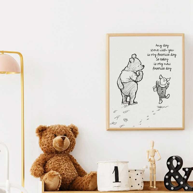 Winnie l'ourson citations affiches sur toile et impressions classique dessin animé film Art peinture noir blanc photo enfants chambre mur Art décor