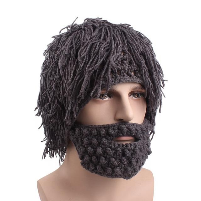 f4f8eef7704 Wig Beard Hat Mad Scientist Caveman Handmade Knit Warm Winter Caps Men Women  Halloween Gifts Funny