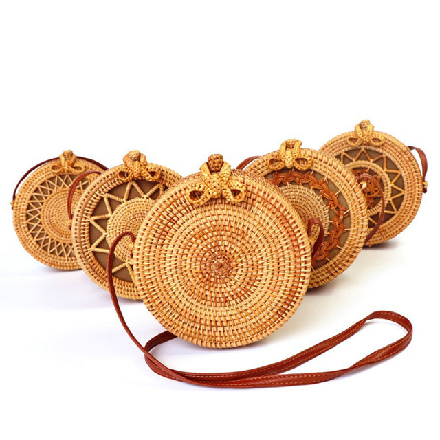 Vintage Handmade Women Rattan Bag Straw Woven Shoulder Bags Bow Holiday Beach Bohemia Crossbody Messengers Handbag round bolsa 2