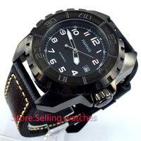 45 мм Парнис черный циферблат PVD 21 Jewels miyota автоматический механизм мужские часы