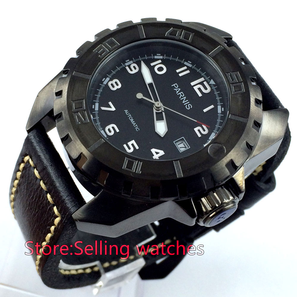 45mm parnis black dial PVD 21 Jewels miyota automatic movement mens watch цена