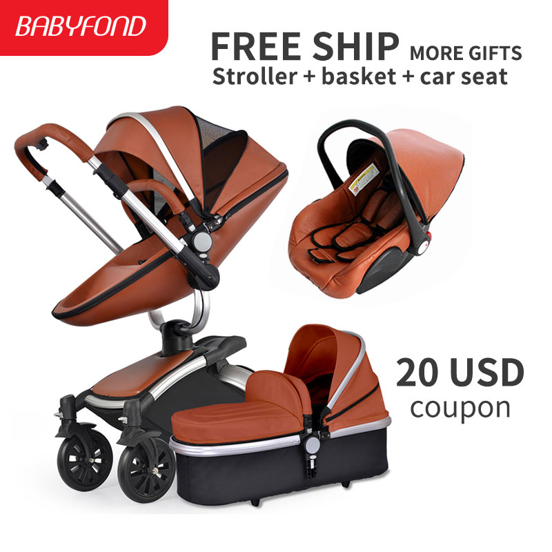 3 in 1 baby stroller high quality newborn baby strollers 2 in 1 leather stroller 3 in 1 baby pram foldable baby carriage 2018 baby strollers brand baby 2 in1 pram baby carriage many colors for choice