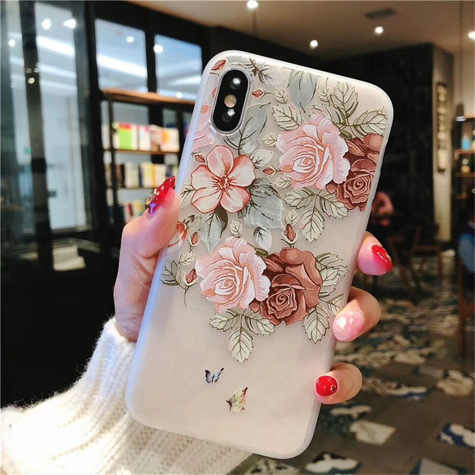 MOUSEMI Luxury 3D Silicone Case For iPhone 6 7 6S 8 Plus 5S SE X XS MAX XR Shockproof Flower Phone Case For iPhone 6 7 Case Girl (4)