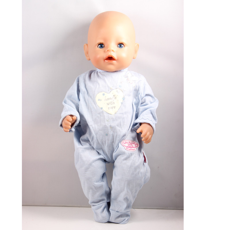 Zapf Baby Born Doll Blue Jumpsuit Clothes Fit 43cm Zapf Doll Fashion Baby Born Doll Accessories Elegant Style baby born doll clothes bat patch skirt dress fit 43cm baby born zapf or 17inch baby born doll accessories high quality love 183