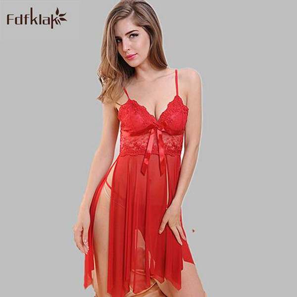 9063c7976101 Sexy lingerie women sleepwear night dress see through nightgown female lace  short nightshirts black purple red A114