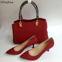 Red Color Soft Shoes Lower Heel 7cm Office Lady Shoes Match Well Fashion Medium Handbag Sets Factory Direct WENZHAN Style A93-24