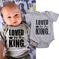 0-24M Newborn Infant Baby Boys Clothes Toddle Kids Bodysuit Baby Boy Be Loved By the King Summer Bodysuits 2016