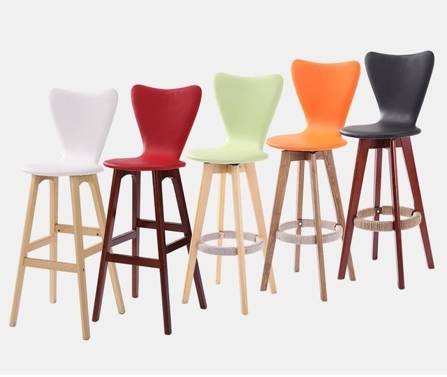 Orange White Bar Chairs For Retail Sale Nordic Exhibition Hall Stool  Wholesale Free Shipping