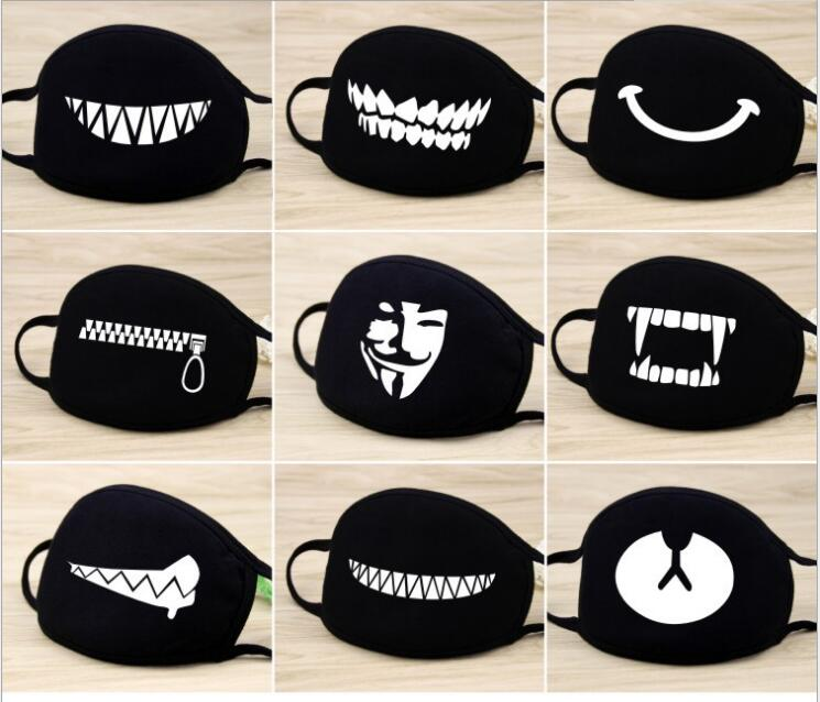 NEW Fashion Unisex Cartoon Pattern Black Cotton Face Mask Cute 3D Print Half Face Mouth Muffle Masks Outdoor Cycling Mask