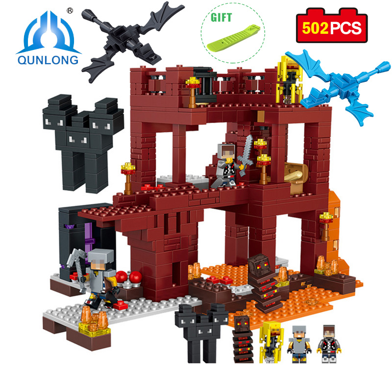 Qunlong 502pcs MY WORLD Minecrafted Assembled Figures Building Blocks Compatible Legoe Minecraft City Educational Toy For Child qunlong toys compatible legos minecraft city model building blocks diy my world action figures bricks educational boy girl toy
