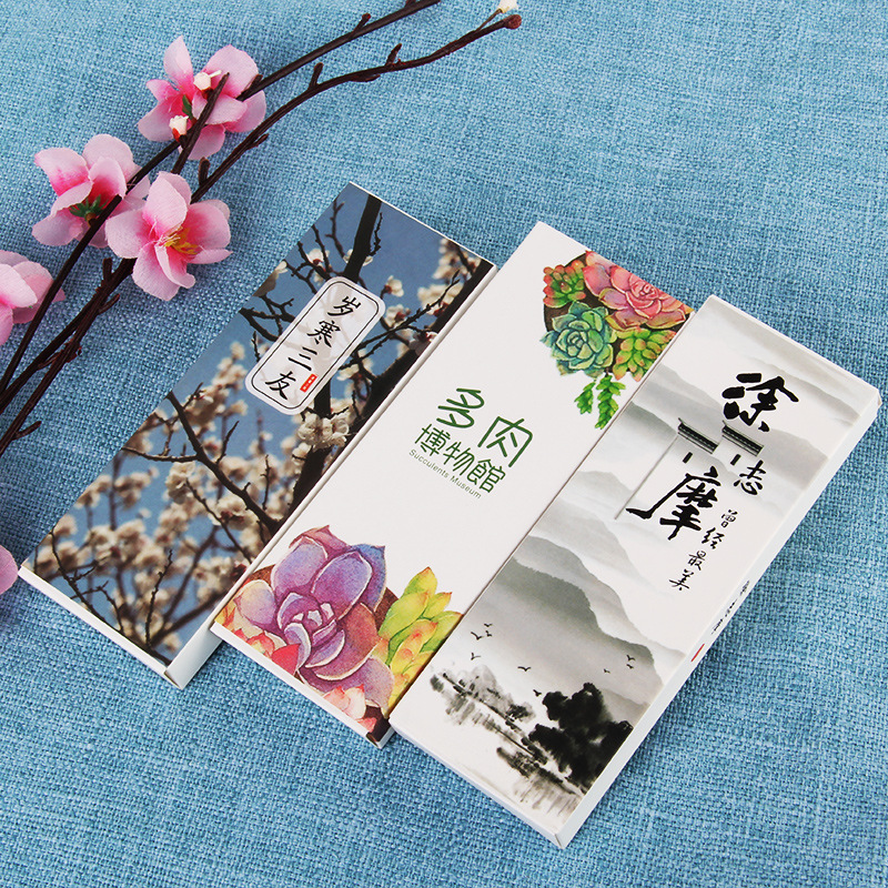 30pcs/box Creative Chinese Style Boxed Bookmarks Variety Of Vintage Fine Paper Bookmarks For Books