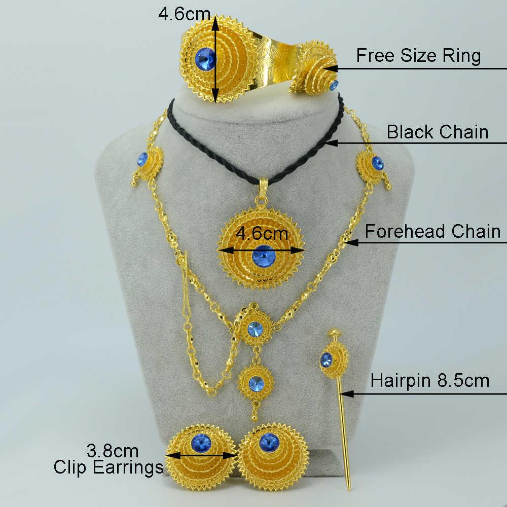 Anniyo Ethiopian Warna Emas Perhiasan Set Batu Biru Habesha Bride Pernikahan Eritrea Dahi Jaringan Afrika Fashion Wanita #000717