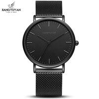 Ультра тонкие часы для мужчин минималистский моды для мужчин s часы лучший бренд класса люкс нержавеющая сталь Ремешок кварцевые часы бизне