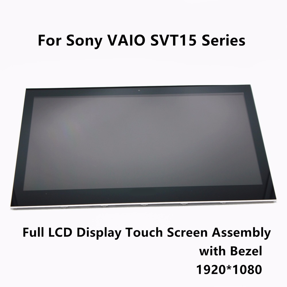 Full LCD Display Touch Screen Digitizer Assembly Bezel For Sony VAIO T15 SVT15 SVT15117CXS SVT15112CXS SVT151A11L SVT15115CXS free dhl brand new black lcd display touch screen digitizer assembly for sony xperia z1s l39t c6916