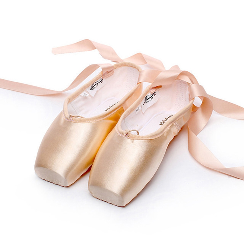 New Ladies Professional Latin Ballet Shoes with Ribbons Ballet Pointe Shoes for Women Professional Ballet Dancing Practice Shoes