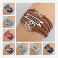 draop shipping bracelet leather bracelet Handmade Multilayer Bear Paw Bracelet charm Animal Dog paw Love BEST FRIEND bracelet