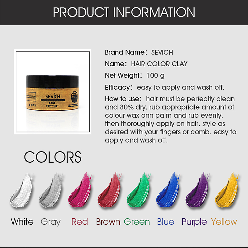 Sevich hair color wax hair dye permanent hair colors cream unisex strong hold grandma grey disposable pastel dynamic hairstyles  3