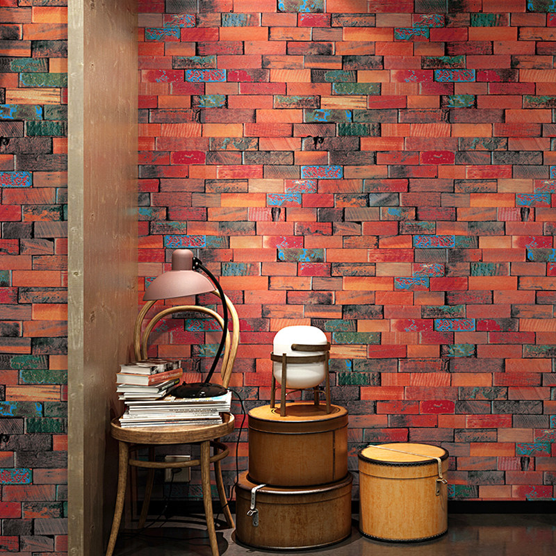 Vintage Wood Grain Brick Wall Wallpaper Roll Chinese Style Hotel Restaurant Hotel Clothing Store Wooden Board PVC Wall Paper 3D
