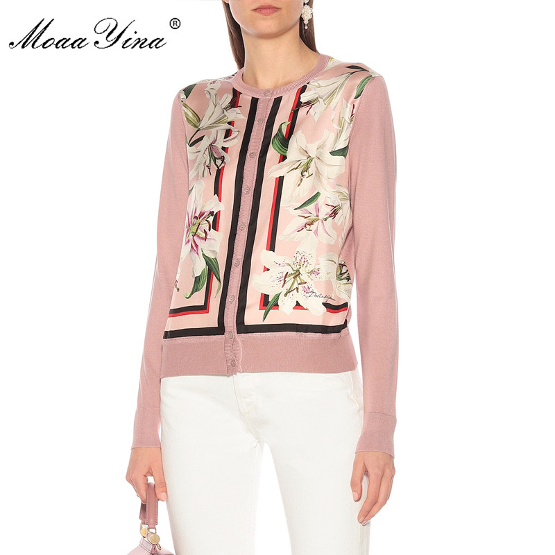 MoaaYina mode tricot pulls pull printemps femmes à manches longues lily Floral imprimer décontracté tricot chandail-in Pulls from Mode Femme et Accessoires    3
