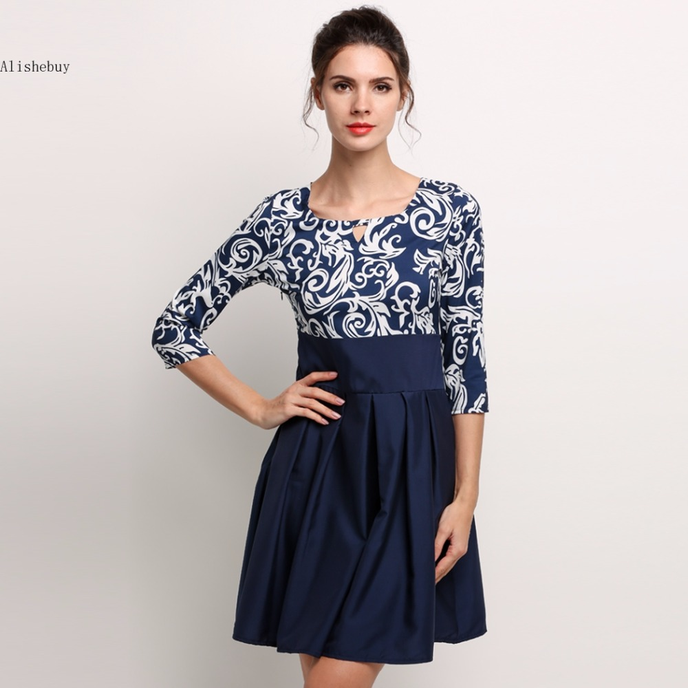 8f9d680640e Womens Dress Mini Casual Clothing Spring Square Collar 3 4 Sleeve Geometry  Printed High Waist A-line Patchwork Dress SV029447