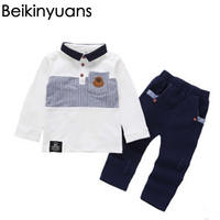 Toddler Baby Boys Clothes Outfit Infant Boy Kirt Shirt Tops + Pants Casual Clothing Autumn/Spring Children Clothing 2PC 1-3Years