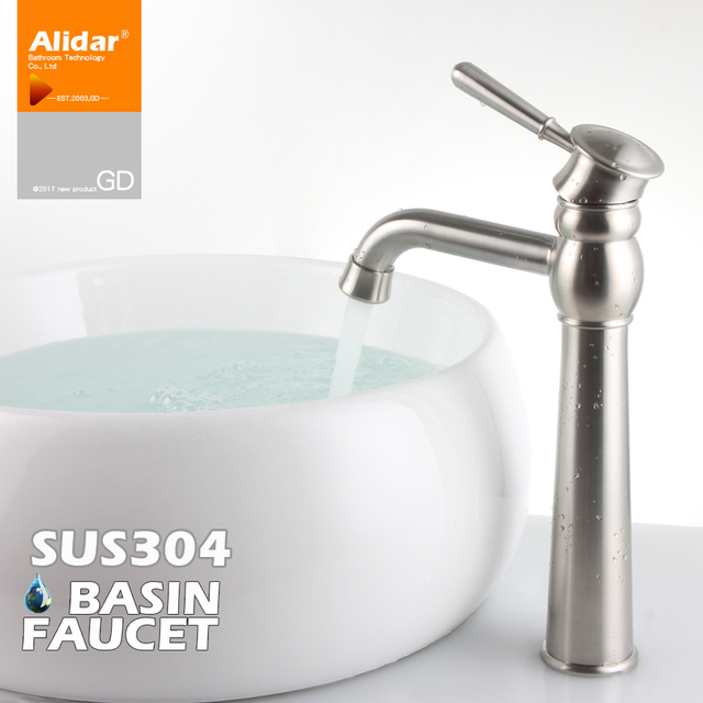 304 stainless steel water hot and cold drawing antique european style bathroom sink faucet face wash