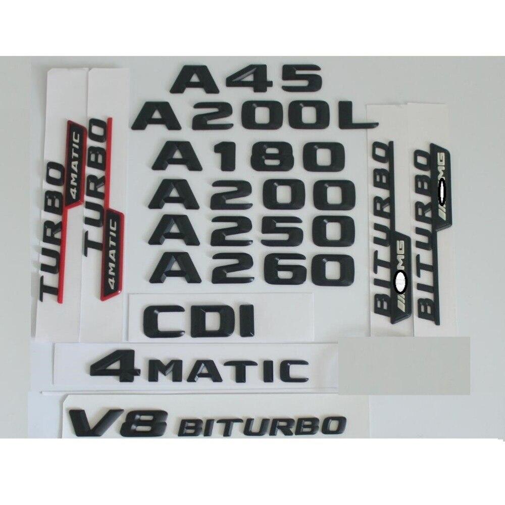 3D Matt Black Trunk Letters Badge Emblem Emblems Badges Sticker for Mercedes Benz W176 A45 A200 A250 A180 V8 BITURBO 4MATIC AMG