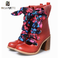 Prova Perfetto Vintage Red Women Ankle Boots Genuine Leather Hollow Out Booties Autumn Lace Up Botas High Heel Boots Mujer