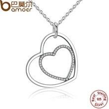BAMOER Clásica Plata de Ley 925 Del Corazón A Corazón Colgante, Collar, Clear CZ Colgante Collar para Las Mujeres Joyería Fina PSN003