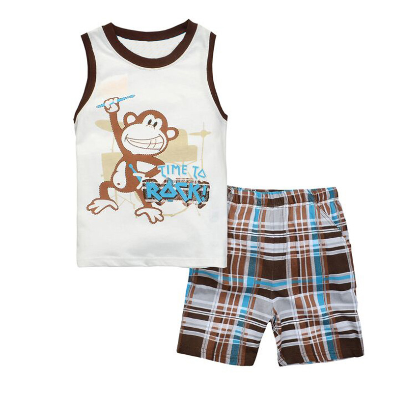 Summer Boys Clothes 2016 New Baby Boy Clothing Set Pattern Monkey Toddler Boys Clothing Plaid Kids Clothes Children Clothing Set