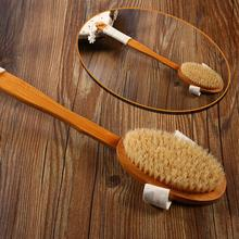Natural Bristle Bath Brush Long Handle Wooden Bristles Soft Hair Rub Back Shower Remove the horny massage brush D20