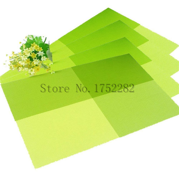 PVC Grid Pattern Design Washable Table Mat Chromatic Weave Heat Insulation  Anti Skidding Dining Room