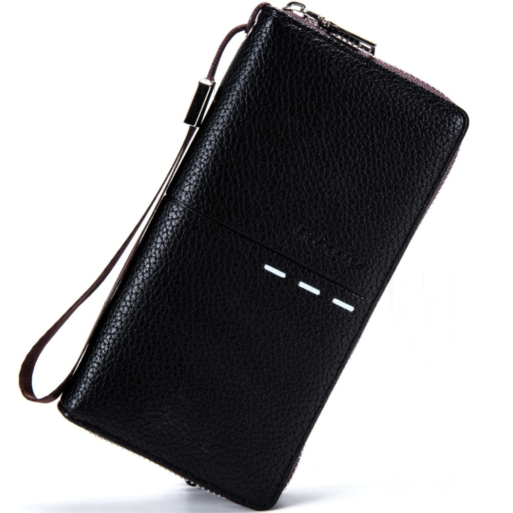 Baborry Brand Leather Wallets Men Long Black Zipper Purses Phone Clutch Wallets Male Business Style Money Bags With Card Holders 2016 famous brand new men business brown black clutch wallets bags male real leather high capacity long wallet purses handy bags