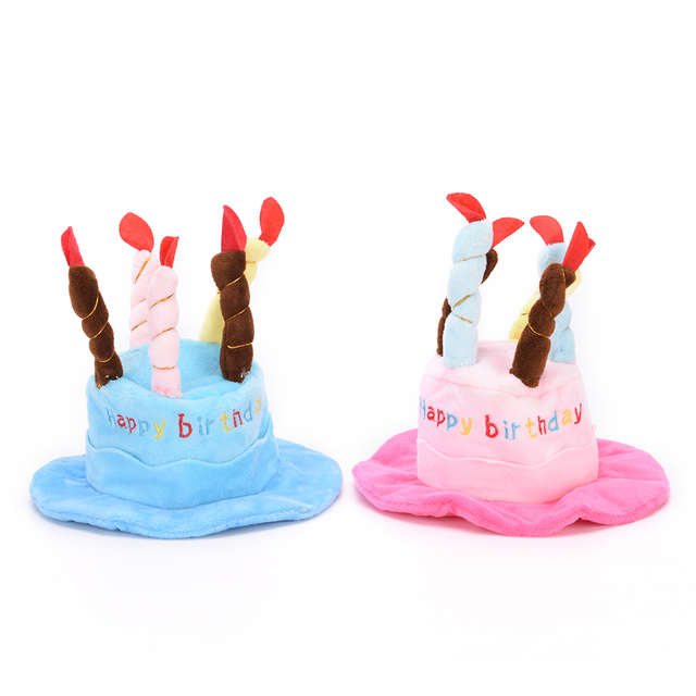 Dogs Pet Cat Caps 2 Color Dog Birthday Hat With Cake Candles Design Party Costume Headwear Accessory For