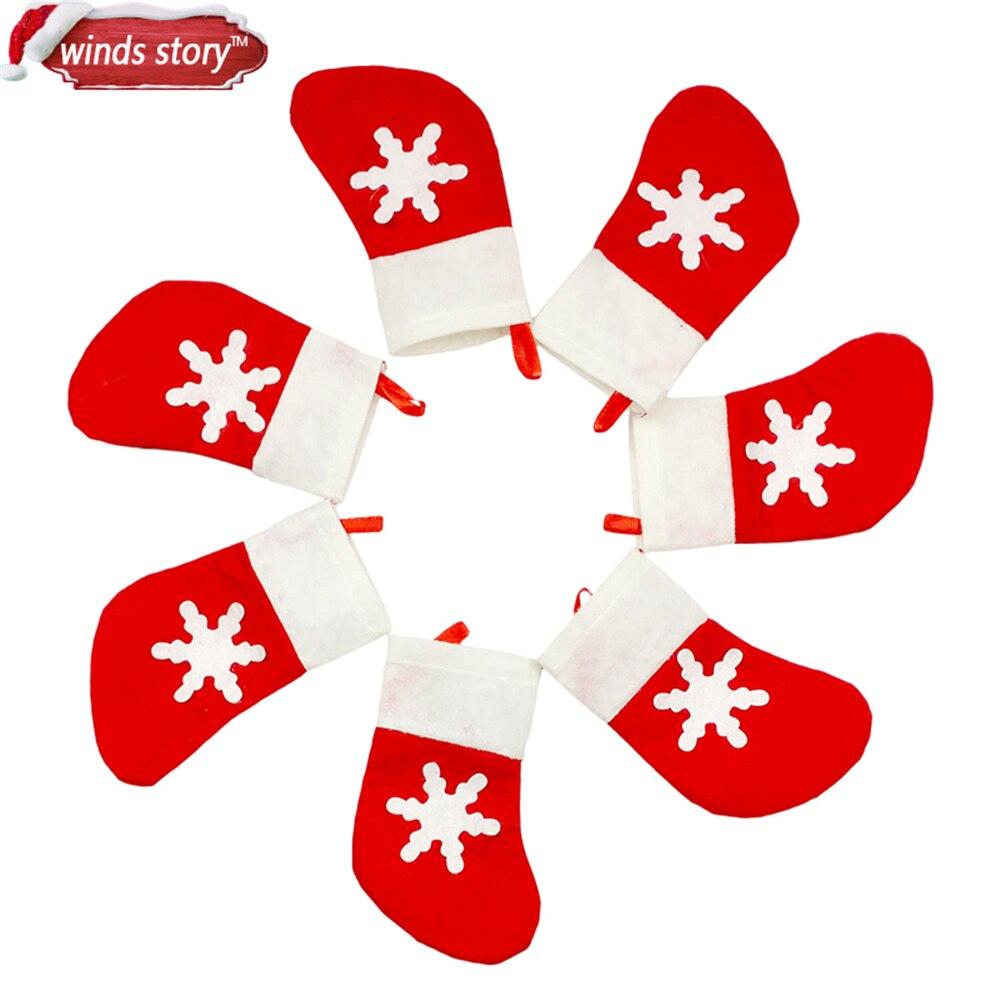 ᑎ‰12 unids Decoración Patrón de Copo de nieve de Navidad Calcetines ...