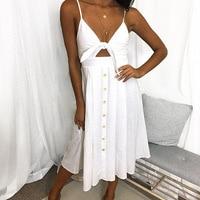 SHIBEVER Sexy Spaghetti Strap Summer Women Dress Bow Boho Beach Party Short Dresses Vestidos Cotton Backless