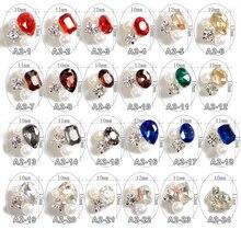 100PCS 다른 크리스탈 타원형 심장 모양 합금 반짝이 진주 네일 아트 장식 3D 손가락 네일 보석, A2 24 24 디자인