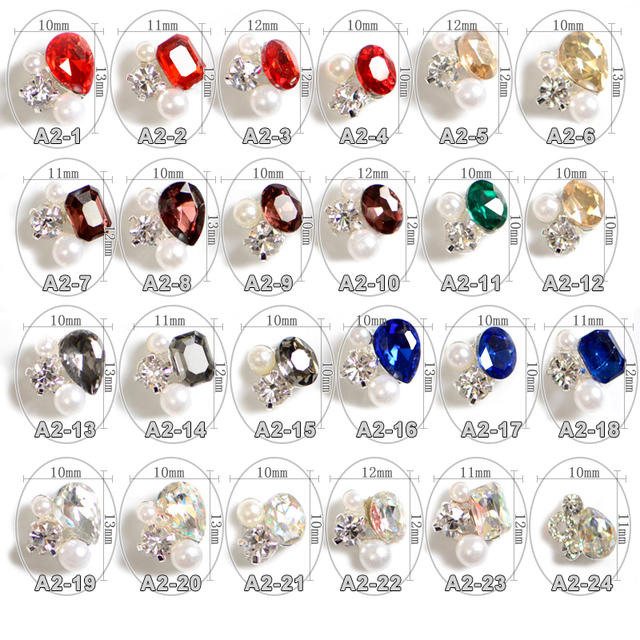 100PCS Different Crystal OVal heart Shape Alloy Glitter Pearl Nail Art Decoration 3D for Finger Nail jewellery, A2 24 24 designs