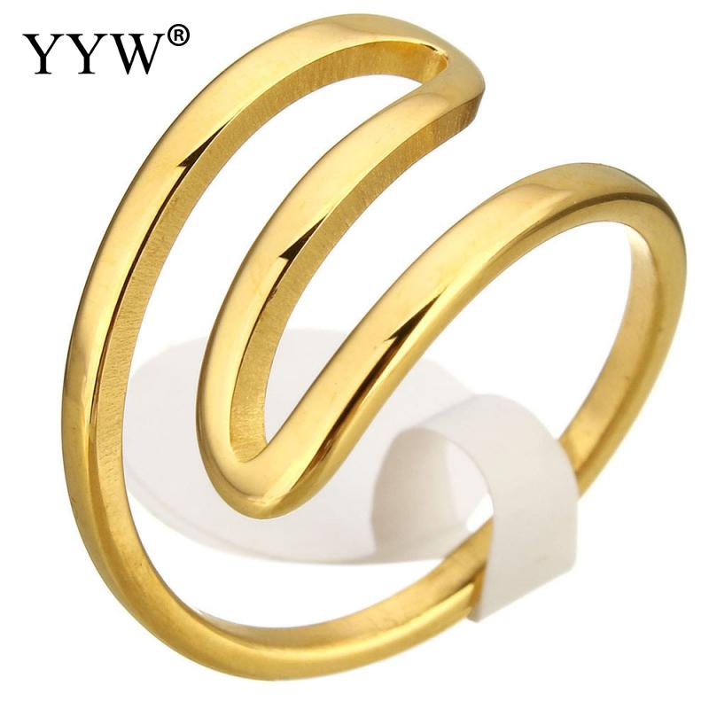 Free shipping!!!Stainless Steel Finger RingJewelry Making gold color plated plating for woman 12mm US Ring Size:7 Sold By PC