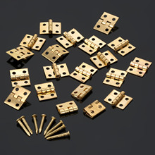 20Pcs Brass Plated Mini Hinge Small Decorative Jewelry Wooden Box Cabinet Door Hinges with Nails Furniture Accessories 10x8mm
