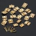 20 Unids Latón Plateado Mini Bisagra Pequeña Caja De Madera de Joyería Decorativa Muebles Puerta Del Armario Bisagras con Uñas Accesorios 10x8mm