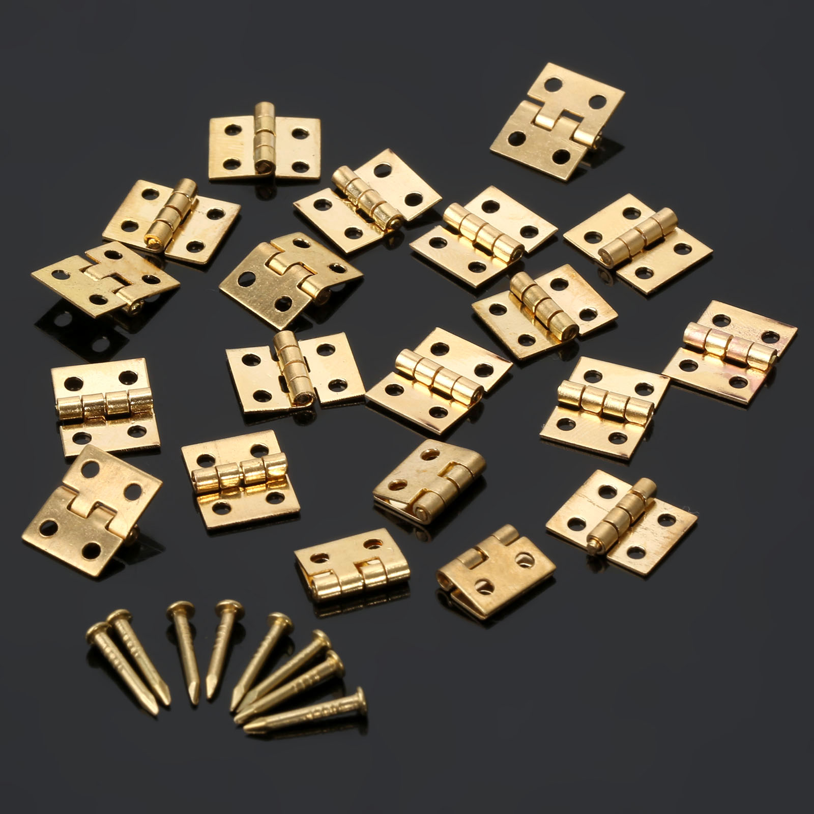20Pcs Brass Plated Mini Hinge Small Decorative Jewelry Wooden Box Cabinet Door Hinges with Nails Furniture Accessories 10x8mm 10pcs cabinet door butt hinges mini drawer bronze decorative mini hinges diy accessories small wooden box decoration